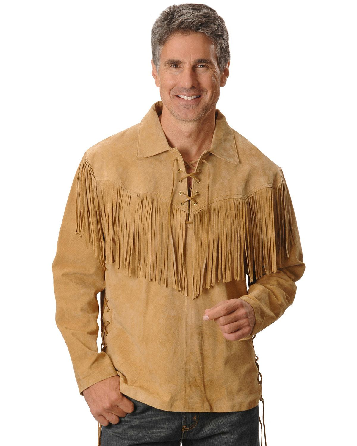 Scully men 39 s fringed boar suede leather shirt 5 86 ebay for Leather jacket and shirt