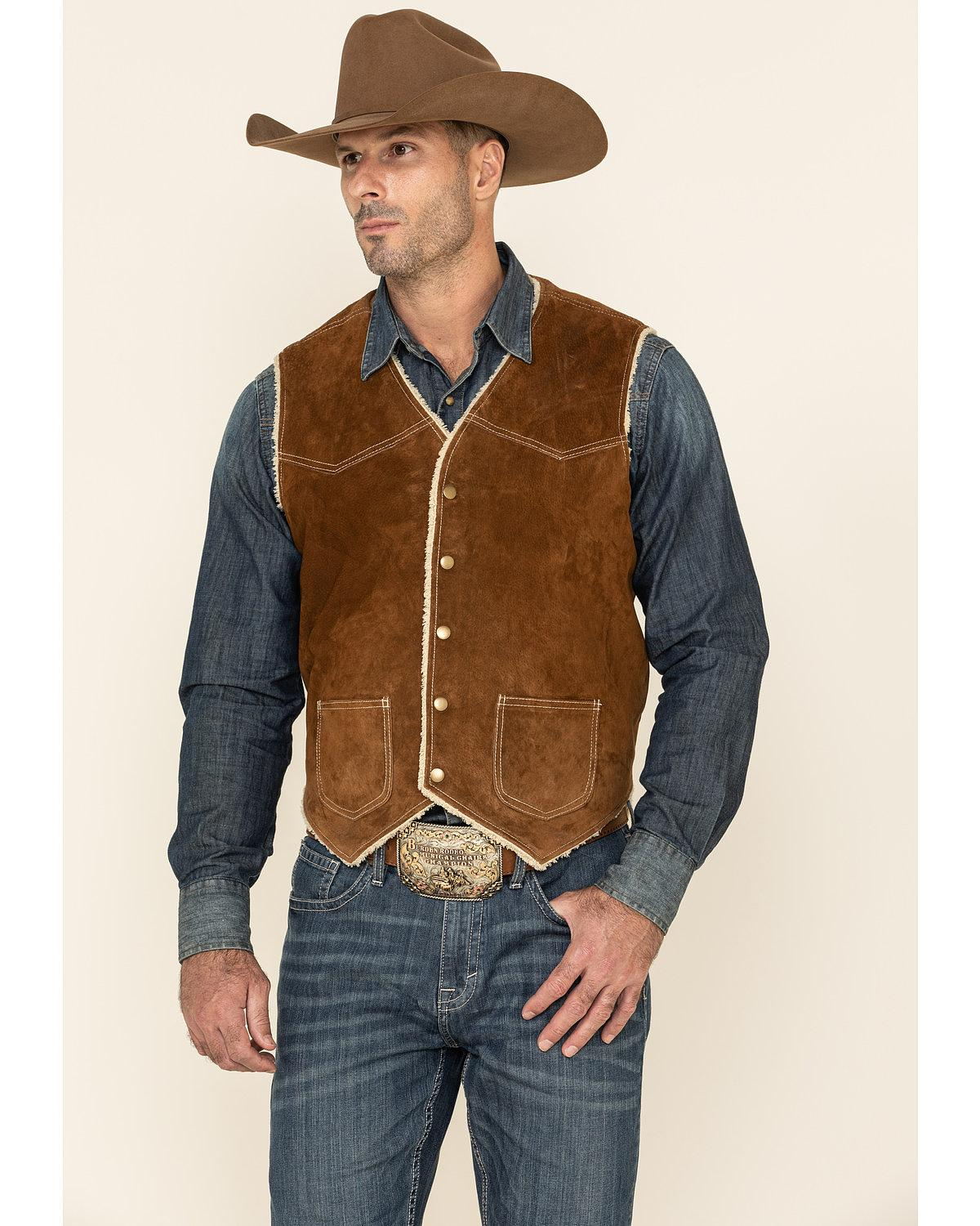 Hard to find mens big and tall western vests in both leather and suede as well as mens western dress vests for weddings in matching designs for weddings. Old west vest for men in leather suede and cotton canvas frontier cowboy Scully vests.