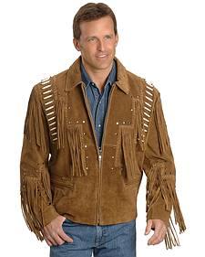 Bone Fringed Suede Leather Jacket