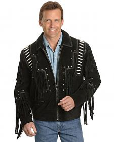 Bone Fringed Suede Leather Jacket