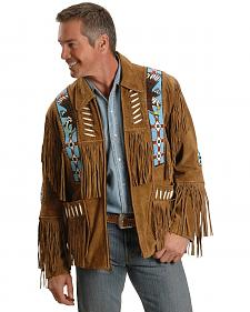 Eagle Bead Fringed Suede Leather Jacket