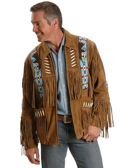 Liberty Wear Eagle Bead Fringed Suede Leather Jacket