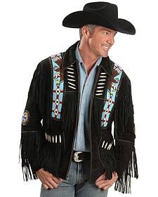 Eagle Bead Fringed Suede Leather Jacket