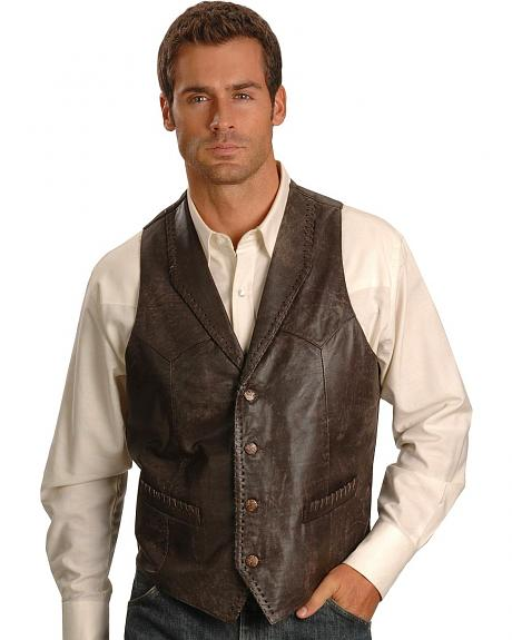 Scully Buffed Calfskin Leather Vest