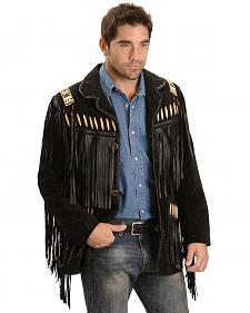 Scully Black Bone Beaded Fringe Leather Jacket