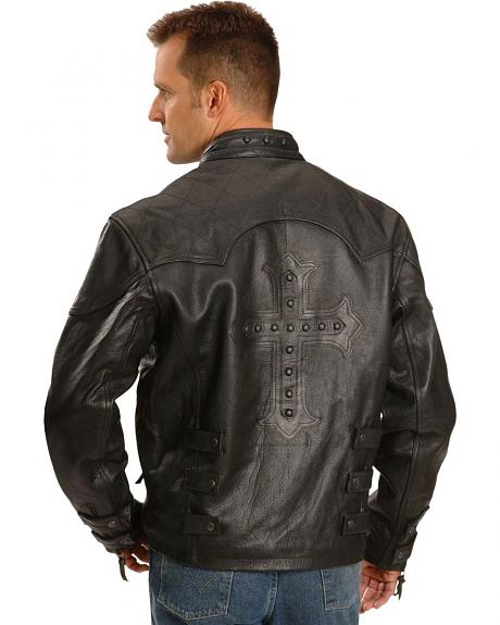 Milwaukee Motorcycle Cross Studded Leather Jacket