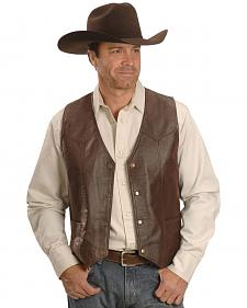 Western Yoke Genuine Leather Vest