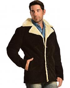 China Leather Men's Sherpa-Lined Suede Coat