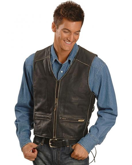 Interstate Leather Men's Side Laced Vest