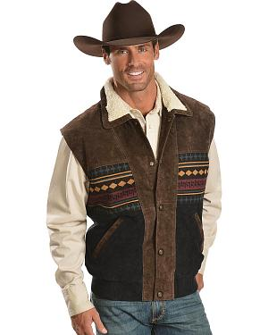 Red Ranch Sherpa Lined Aztec Vest