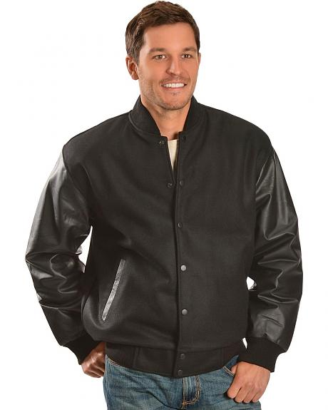 Red Ranch Leather Sleeve Wool Jacket