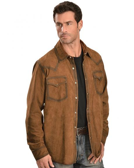 Scully Suede Leather Western Shirt