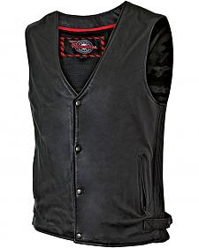 Milwaukee Motorcycle Ribbed Leather Vest - XL