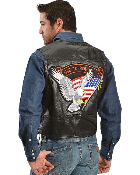 Live to Ride Eagle & Flag Leather Motorcycle Vest