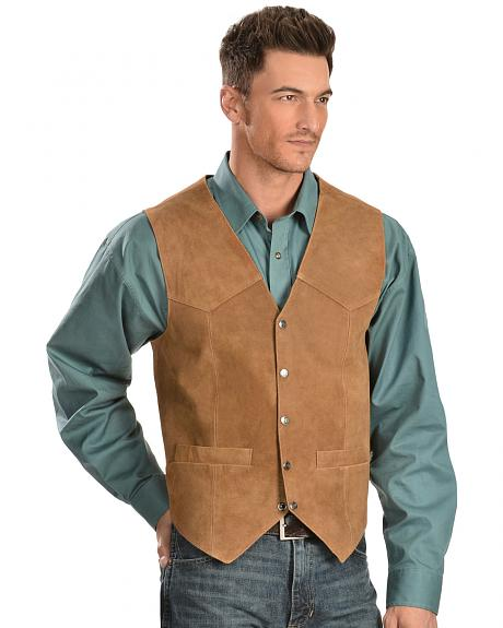 Scully Calfskin Suede Snap Front Vest