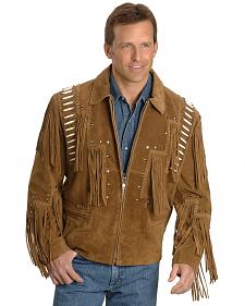 Bone Fringed Suede Leather Jacket - Big & Tall