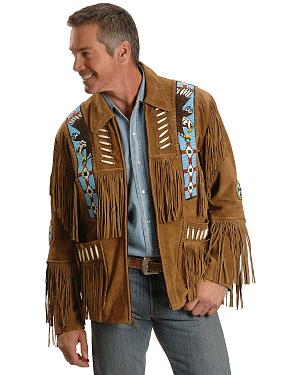 Liberty Wear Eagle Bead Fringed Suede Leather Jacket - Big & Tall