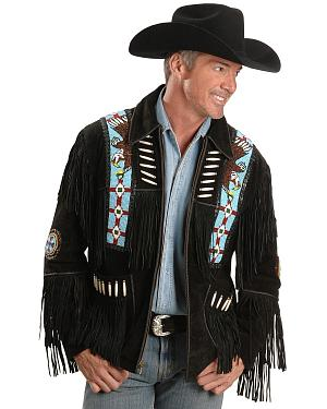Eagle Bead Fringed Suede Leather Jacket - Big & Tall