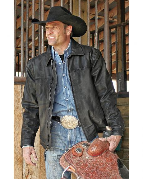 STS Ranchwear Men's Rifleman Black Leather Jacket