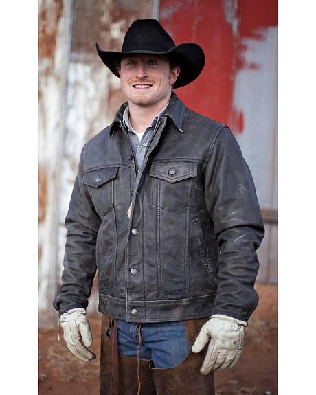 STS Ranchwear Men's Maverick Black Leather Jacket