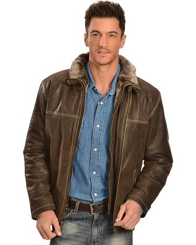 China Leather Mens Distressed Brown Double Collar Jacket Western & Country 22029
