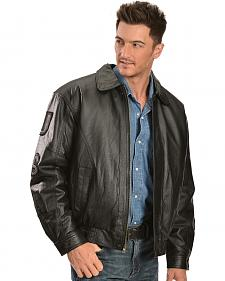Vintage Leather Black USA Eagle Flag Jacket
