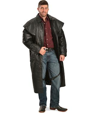 China Leather Collection Black Leather Duster