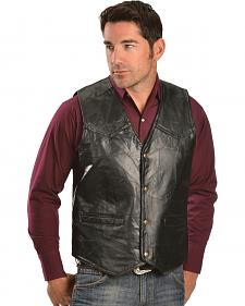 Red Ranch Men's Black Faux Leather Patchwork Vest