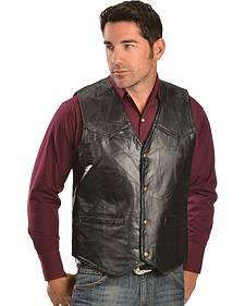 Red Ranch Men's Black Faux Leather Patchwork Vest