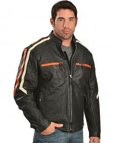 Interstate Leather Racing Stripe Leather Scooter Jacket