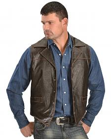 Cripple Creek Men's Leather Snap Front with Flannel Lining Vest