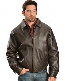 Vintage Leather Men's Brown Leather Bomber Jacket