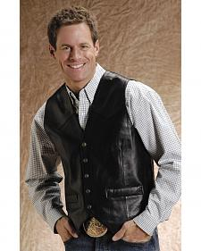 Roper Lamb Leather Black Vest - Big and Tall