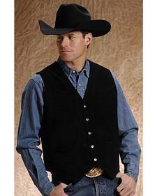 Roper Men's Black Suede Vest