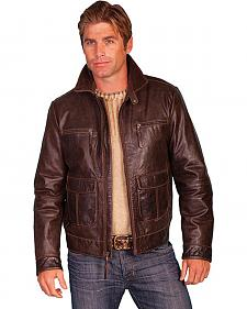 Scully Zip Front Four Pocket Leather Jacket