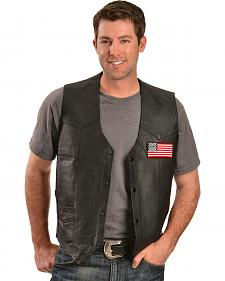 China Leather Men's American Flag Leather Vest