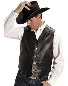 Roper Men's Nappa Notched Collar Leather Vest