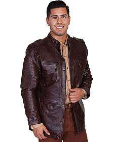 Scully Top Grain Calf Leather Snap Front Jacket