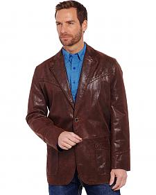 Cripple Creek Thick-Stitched and Hand-Laced Chestnut Brown Leather Blazer