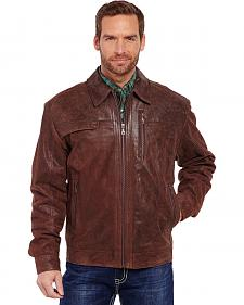 Cripple Creek Men's Distressed Stitched Leather Jacket