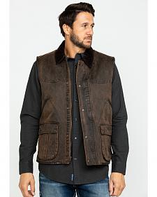 Cripple Creek Men's Brown Leather Concealed CArry Vest