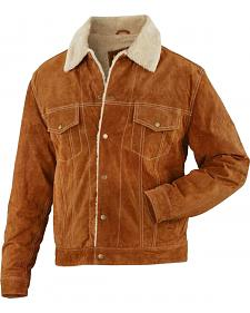 China Leather Brown Suede Sherpa-Lined Jacket