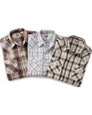 Ely Assorted Plaid or Stripe Short Sleeve Western Shirt - Big, Tall, Big/Tall