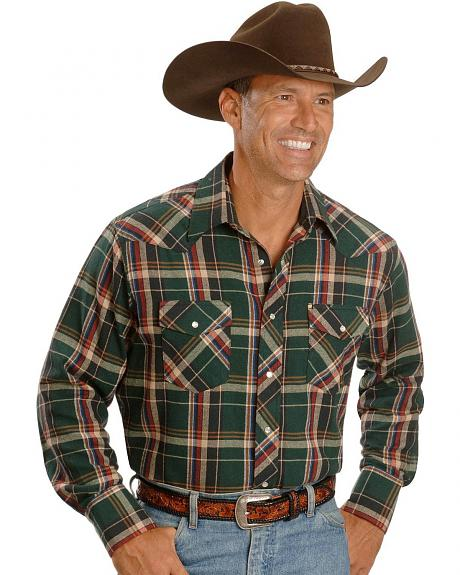 Wrangler Forest Plaid Flannel Western Shirt - Tall