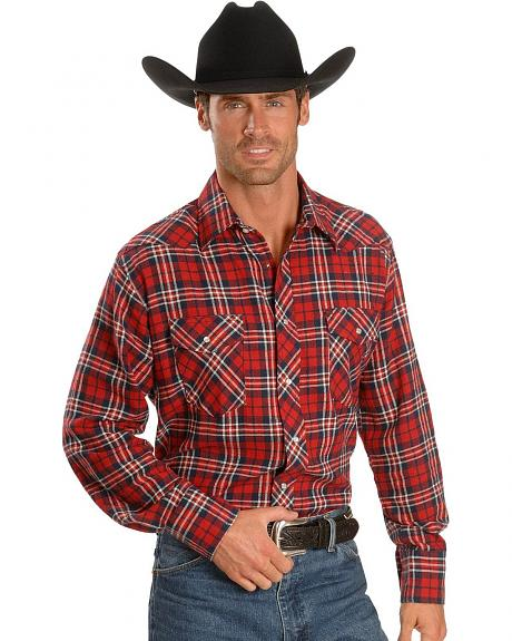 Wrangler Red Plaid Flannel Western Shirt - Tall