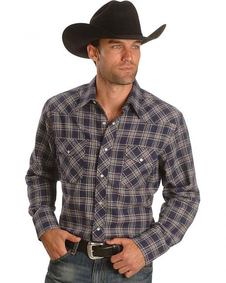 Wrangler Denim Plaid Flannel Western Shirt - Tall