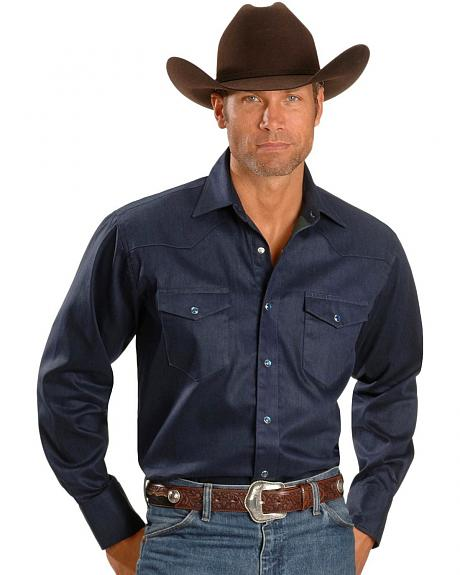 Wrangler Navy Brushpopper Western Shirt - Big