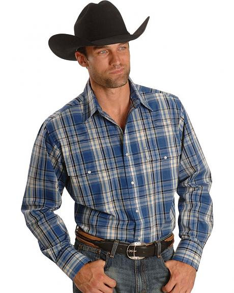 Wrangler Wrinkle Resistant Blue Plaid Western Shirt - Tall