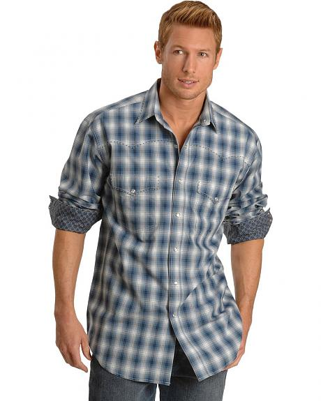 Roper Blue Plaid Western Shirt - Tall