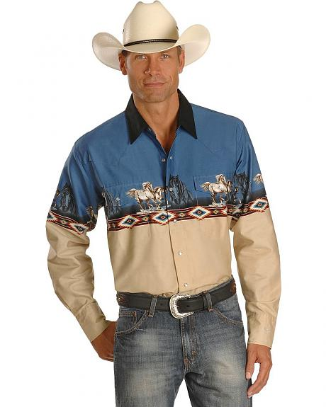 Cumberland Outfitters Running Horse Border Western Shirt - Tall